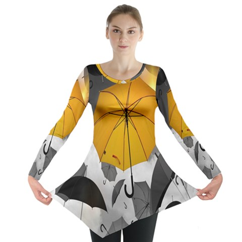 Umbrella Yellow Black White Long Sleeve Tunic