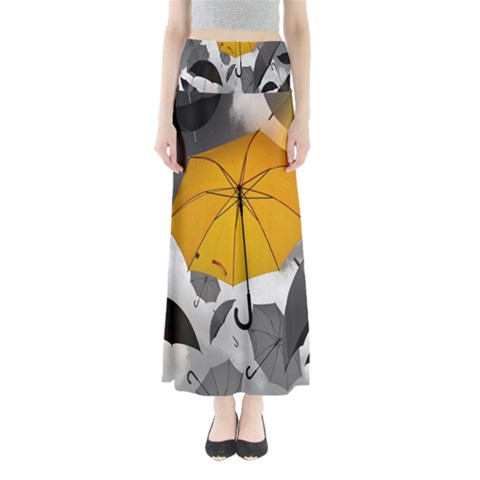 Umbrella Yellow Black White Maxi Skirts