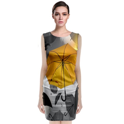 Umbrella Yellow Black White Classic Sleeveless Midi Dress
