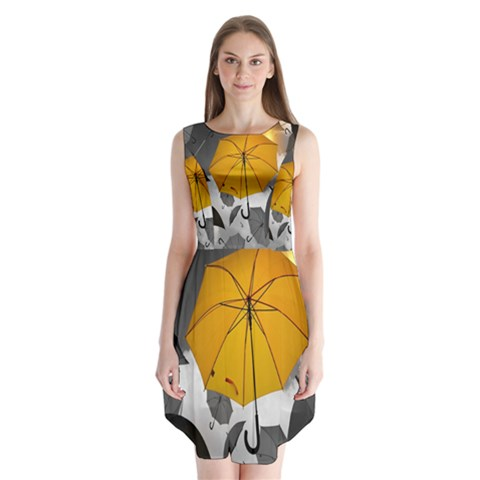 Umbrella Yellow Black White Sleeveless Chiffon Dress