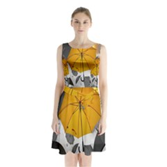 Umbrella Yellow Black White Sleeveless Chiffon Waist Tie Dress