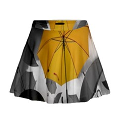 Umbrella Yellow Black White Mini Flare Skirt