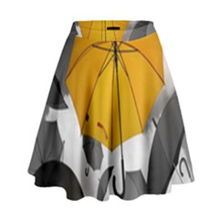 Umbrella Yellow Black White High Waist Skirt