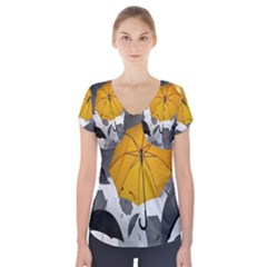 Umbrella Yellow Black White Short Sleeve Front Detail Top