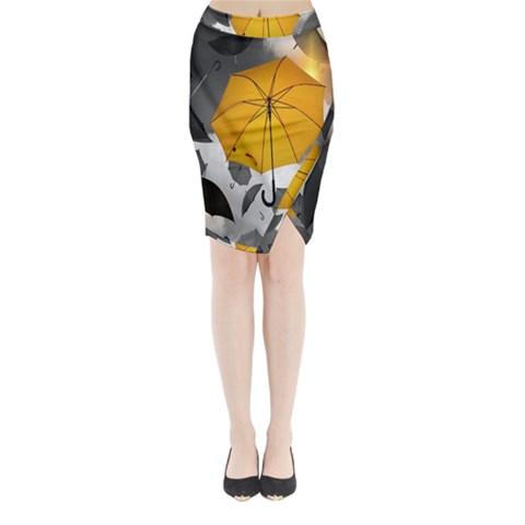Umbrella Yellow Black White Midi Wrap Pencil Skirt