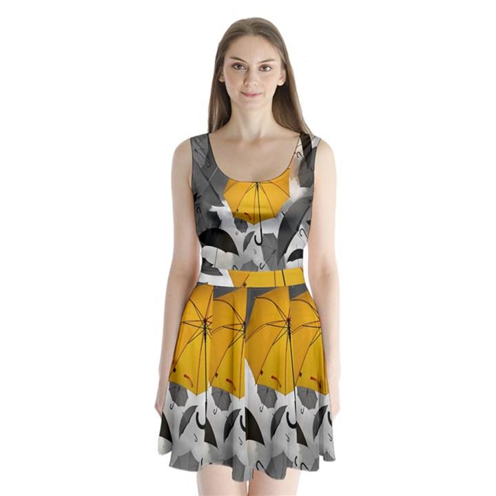 Umbrella Yellow Black White Split Back Mini Dress