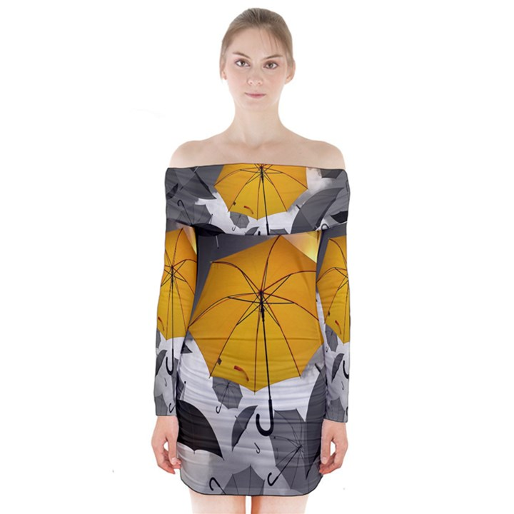 Umbrella Yellow Black White Long Sleeve Off Shoulder Dress