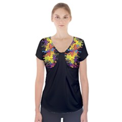 Crazy Multicolored Double Running Splashes Short Sleeve Front Detail Top
