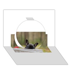 French Bulldog Peeking Puppy Circle 3D Greeting Card (7x5)
