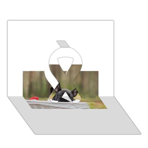 French Bulldog Peeking Puppy Ribbon 3D Greeting Card (7x5)