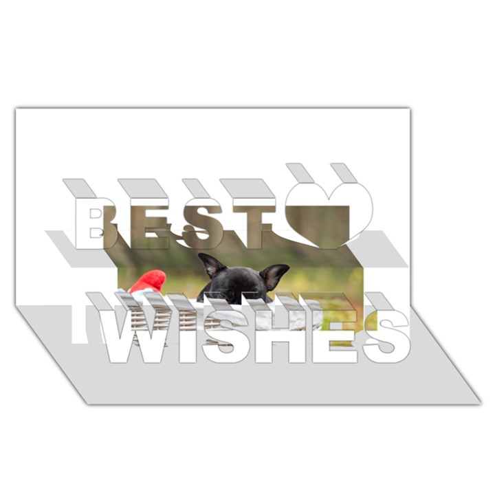 French Bulldog Peeking Puppy Best Wish 3D Greeting Card (8x4)