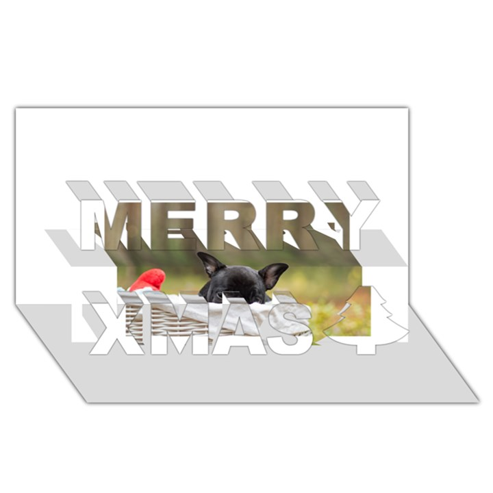 French Bulldog Peeking Puppy Merry Xmas 3D Greeting Card (8x4)