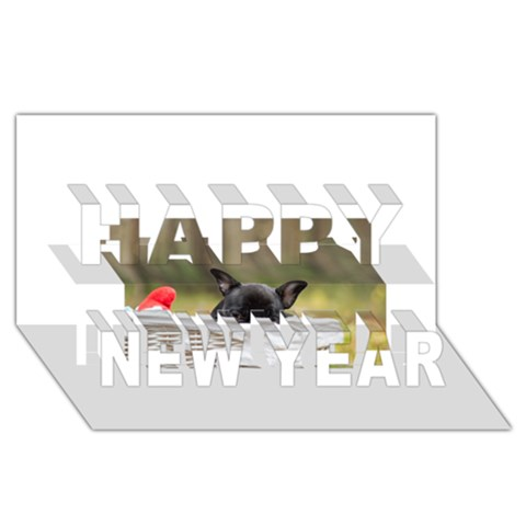 French Bulldog Peeking Puppy Happy New Year 3D Greeting Card (8x4)
