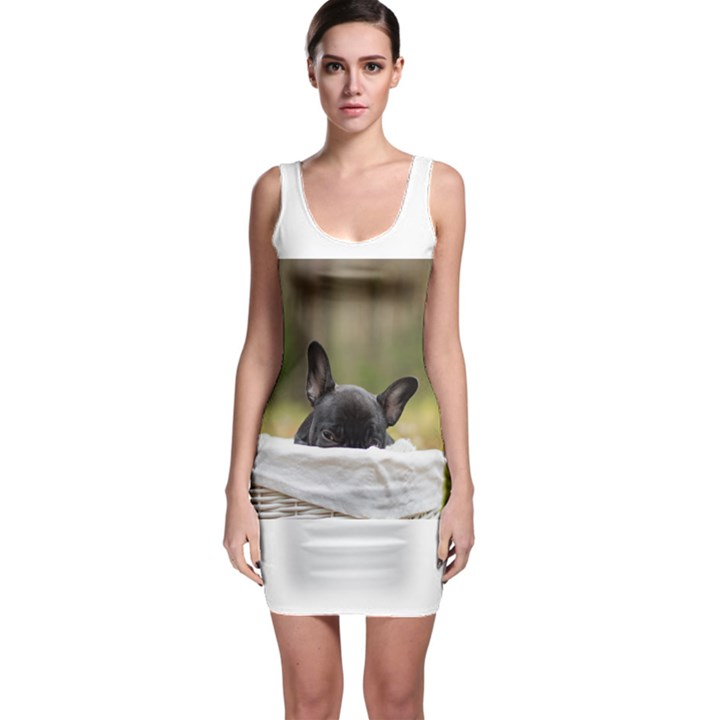 French Bulldog Peeking Puppy Sleeveless Bodycon Dress
