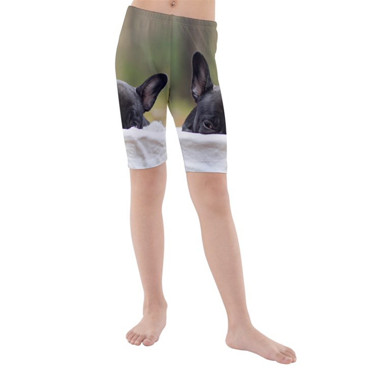 French Bulldog Peeking Puppy Kids  Mid Length Swim Shorts