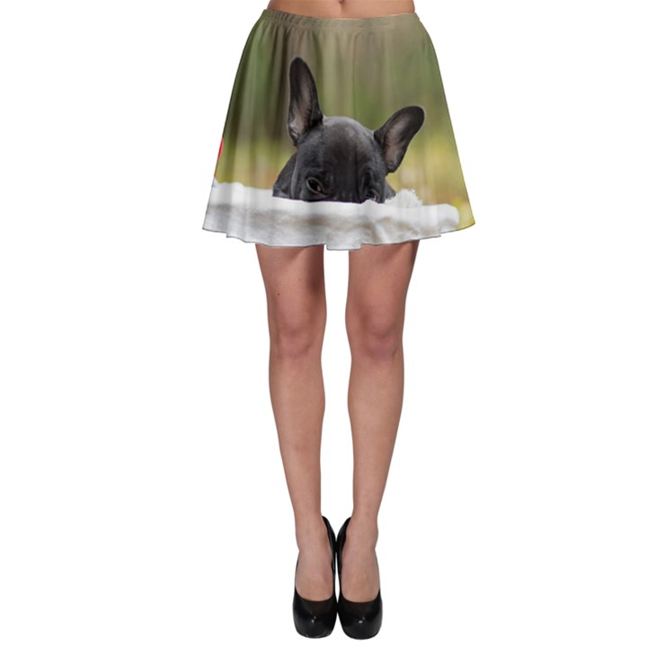 French Bulldog Peeking Puppy Skater Skirt