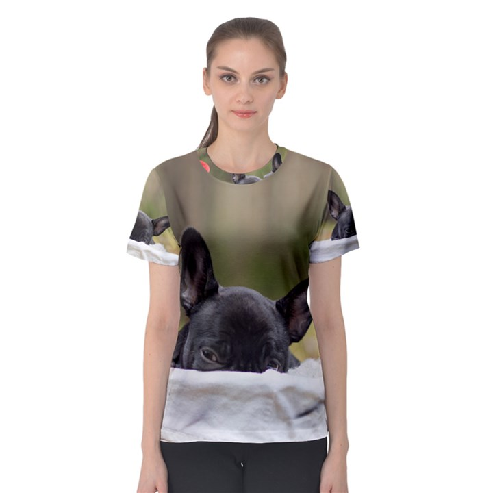 French Bulldog Peeking Puppy Women s Sport Mesh Tee