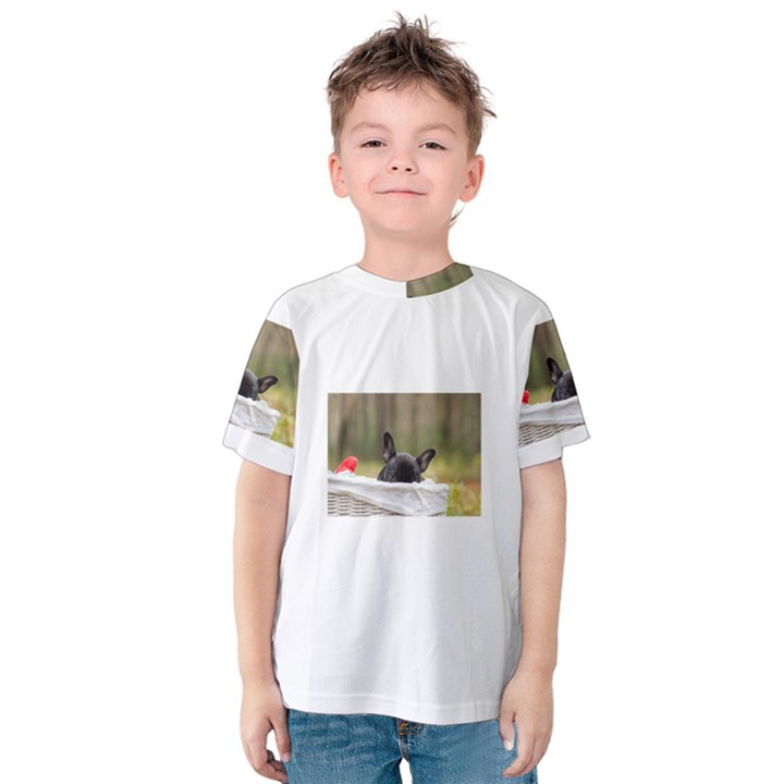 French Bulldog Peeking Puppy Kids  Cotton Tee