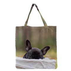French Bulldog Peeking Puppy Grocery Tote Bag