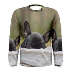 French Bulldog Peeking Puppy Men s Long Sleeve Tee