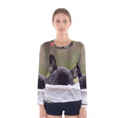 French Bulldog Peeking Puppy Women s Long Sleeve Tee