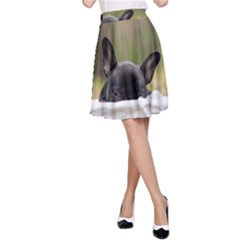 French Bulldog Peeking Puppy A-Line Skirt