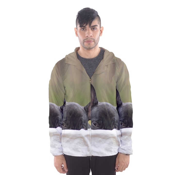 French Bulldog Peeking Puppy Hooded Wind Breaker (Men)