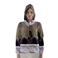 French Bulldog Peeking Puppy Hooded Wind Breaker (Women)