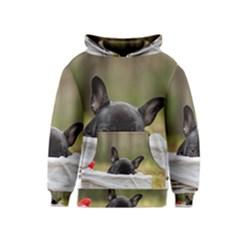 French Bulldog Peeking Puppy Kids  Pullover Hoodie