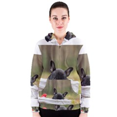French Bulldog Peeking Puppy Women s Zipper Hoodie