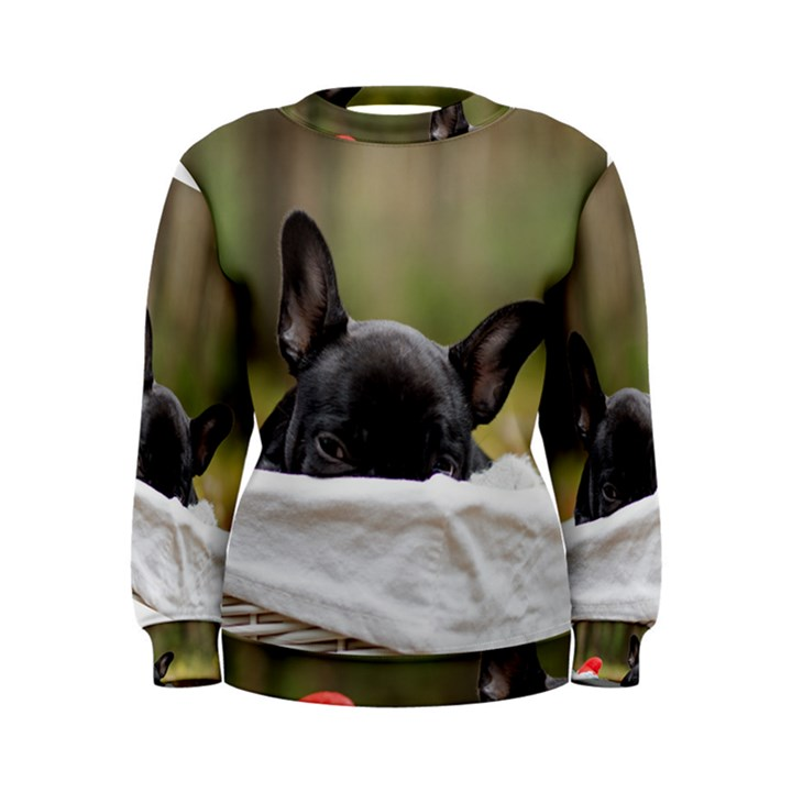 French Bulldog Peeking Puppy Women s Sweatshirt