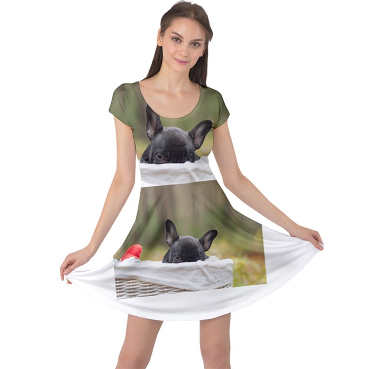 French Bulldog Peeking Puppy Cap Sleeve Dresses