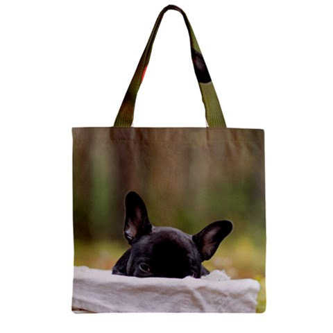 French Bulldog Peeking Puppy Zipper Grocery Tote Bag