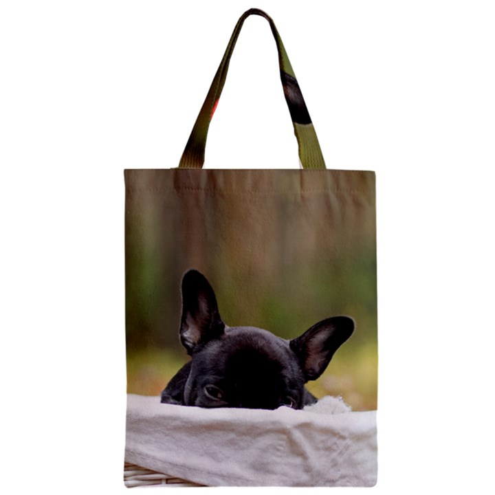 French Bulldog Peeking Puppy Zipper Classic Tote Bag