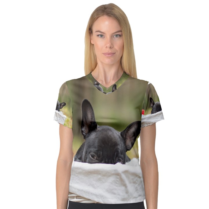 French Bulldog Peeking Puppy Women s V-Neck Sport Mesh Tee