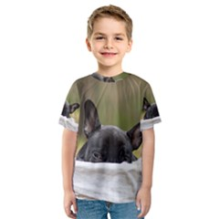 French Bulldog Peeking Puppy Kids  Sport Mesh Tee