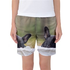 French Bulldog Peeking Puppy Women s Basketball Shorts