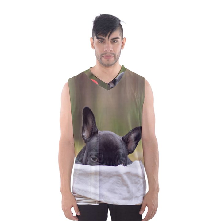 French Bulldog Peeking Puppy Men s Basketball Tank Top