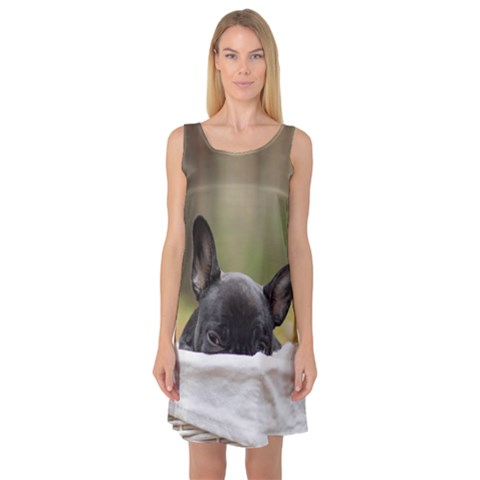 French Bulldog Peeking Puppy Sleeveless Satin Nightdress