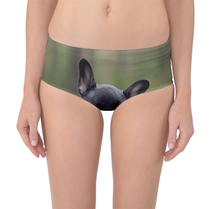 French Bulldog Peeking Puppy Mid-Waist Bikini Bottoms