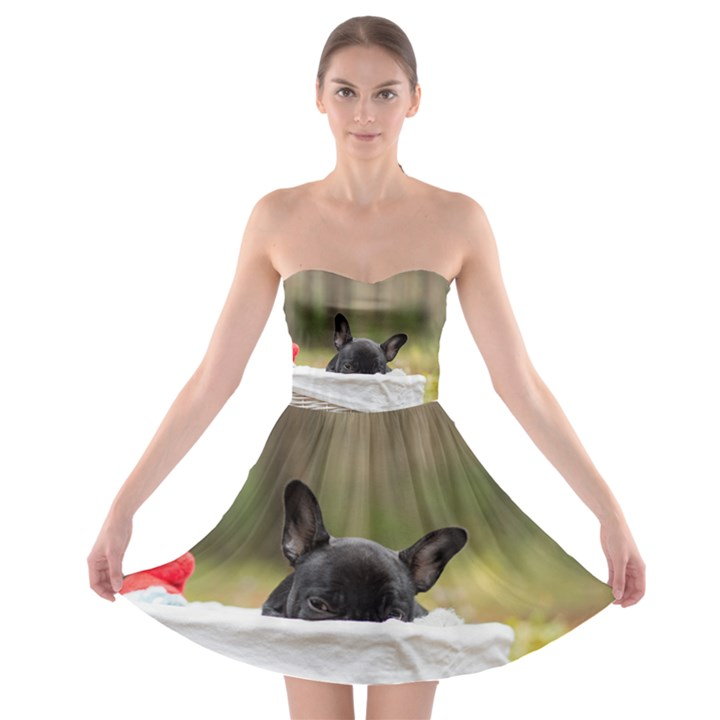 French Bulldog Peeking Puppy Strapless Bra Top Dress