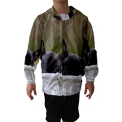 French Bulldog Peeking Puppy Hooded Wind Breaker (Kids)