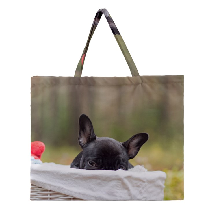 French Bulldog Peeking Puppy Zipper Large Tote Bag