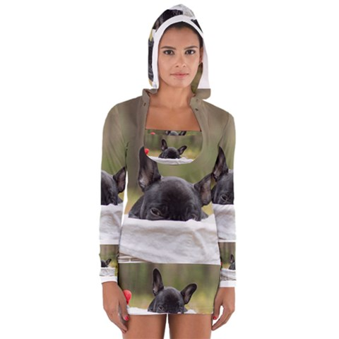 French Bulldog Peeking Puppy Women s Long Sleeve Hooded T-shirt