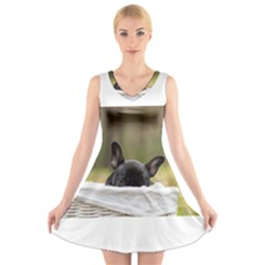 French Bulldog Peeking Puppy V-Neck Sleeveless Skater Dress