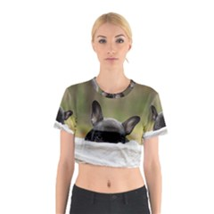 French Bulldog Peeking Puppy Cotton Crop Top