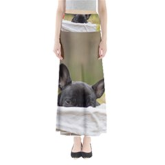 French Bulldog Peeking Puppy Maxi Skirts
