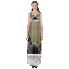 French Bulldog Peeking Puppy Empire Waist Maxi Dress