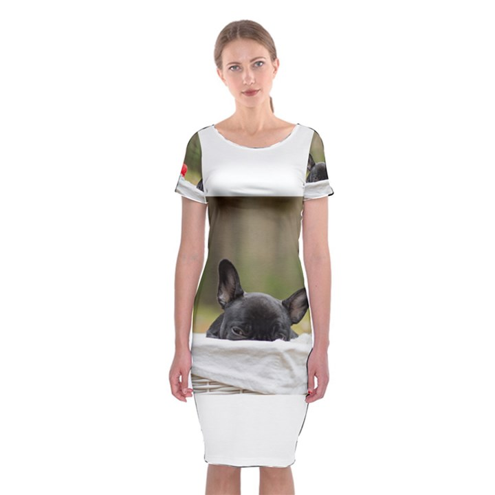 French Bulldog Peeking Puppy Classic Short Sleeve Midi Dress