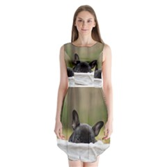 French Bulldog Peeking Puppy Sleeveless Chiffon Dress